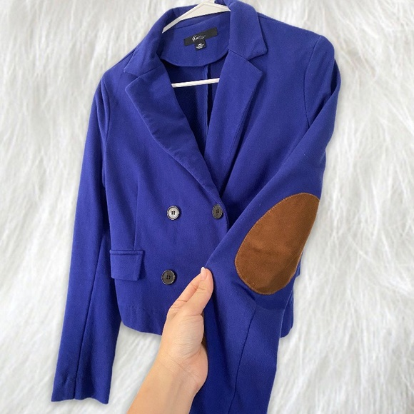 ROYAL BLUE BLAZER WITH SUEDE ELBOW PADDING